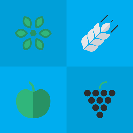Vector Illustration Set Of Simple Garden Icons. Elements Fruit, Corn, Wine And Other Synonyms Fruit, Blossom And Pot.