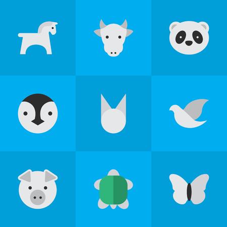 벡터 일러스트 레이 션 간단한 동물원 아이콘의 집합입니다. 요소 돼지, 곰, 키네 및 기타 동의어 돼지, 동물 및 나비.
