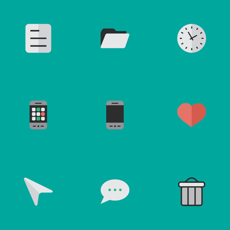 Vector Illustration Set Of Simple UI Icons. Elements Time, Pointer, File And Other Synonyms Archive, Watch And Bubble. Illustration