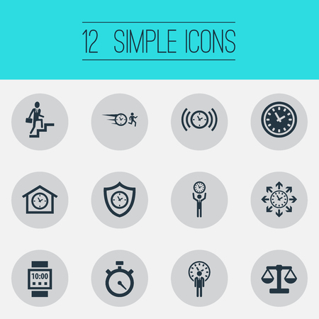 Vector Illustration Set Of Simple Management Icons. Elements Hurry, Progress, Arrows And Other Synonyms Progress, Watch And Shield.