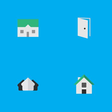 単純なプロパティのアイコンのベクトル イラスト セット。要素の家、家、エントリおよび他類義語の不動産とプロパティ。