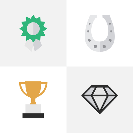 Vector Illustration Set Of Simple Reward Icons. Elements Diamond, Reward, Metal And Other Synonyms Shoe, Trophy And Metal. Illustration