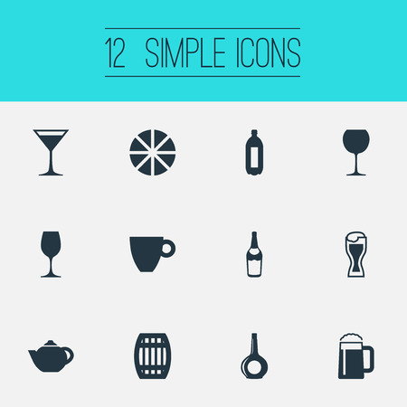 Vector Illustration Set Of Simple Water Icons. Elements Cosmopolitan, Lime, Fizzy And Other Synonyms Barrel, Teakettle And Citrus.