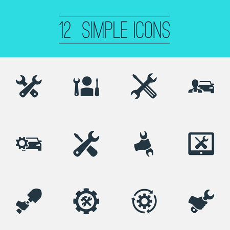 Vector Illustration Set Of Simple Fixing Icons. Elements Workman, Spade, Key And Other Synonyms Digger, Monitor And Renovation. Illusztráció
