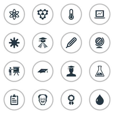 Vector Illustration Set Of Simple Knowledge Icons. Elements Student, Knowledge, Atom And Other Synonyms Earth, Scholar And Atom.
