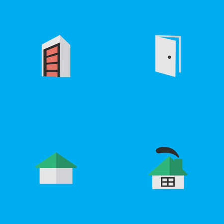 Vector Illustration Set Of Simple Estate Icons. Elements Dwelling, Entry, Construction And Other Synonyms Building, Entry And House.