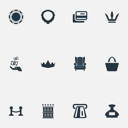 Vector Illustration Set Of Simple Rich Icons. Elements Queen, Fence, Perfume Bottle And Other Synonyms Interior, King And Card. Illustration