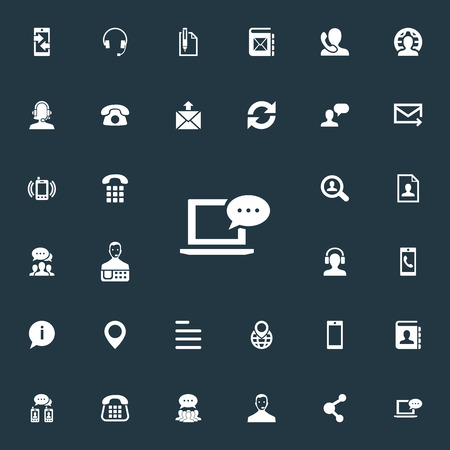 Vector Illustration Set Of Simple Contact Icons. Elements Earpiece, Communication, Text And Other Synonyms House, Incoming And Collective. Illustration