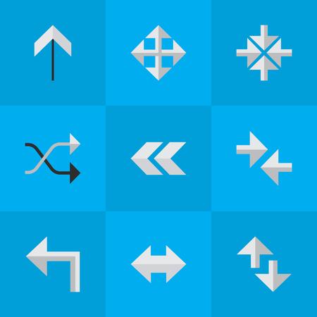 벡터 일러스트 레이 션 간단한 화살표 아이콘의 집합입니다. 뒤, 오리 엔테이션 및 다른 동의어가 위쪽, 왼쪽 및 가져 오기 요소를 넓혀줍니다. 일러스트