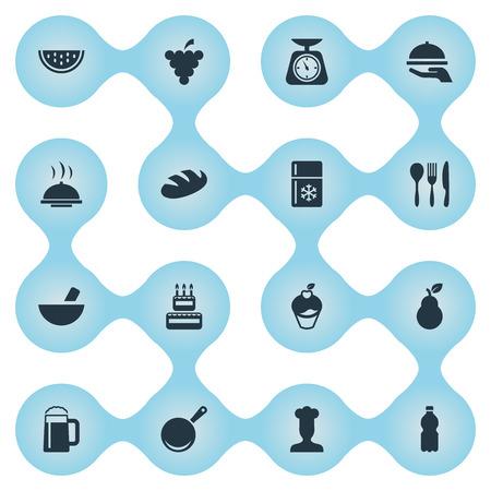 シンプルな料理のアイコンのベクトル イラスト セット。要素麺、プラスチック ボトル、ホットディッシュ、他類義語パブ スケールと食器。