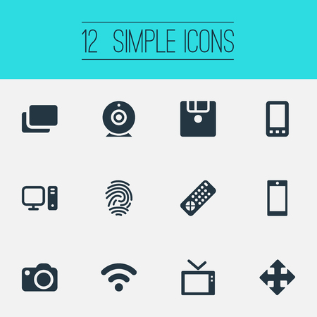 Vector Illustration Set Of Simple Technology Icons. Elements Personal Computer, Fingerprint, Television And Other Synonyms Identification, Thumbprint And Camera.
