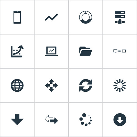 Vector Illustration Set Of Simple Analysis Icons. Elements Earth, Telephone, Cycle Chart And Other Synonyms Smartphone, Chart And Two.