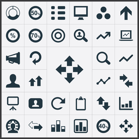 Vector Illustration Set Of Simple Statistic Icons. Elements Surge, Opposite, Menu And Other Synonyms Right, Planet And Screen. 向量圖像
