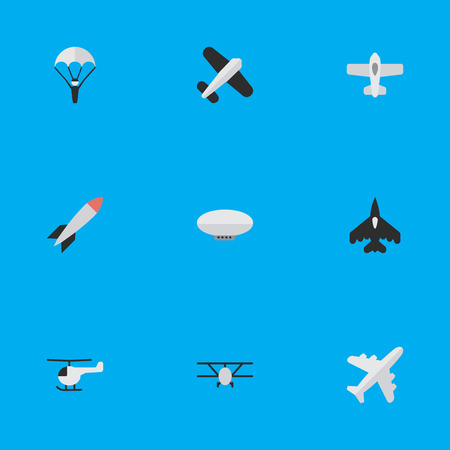 Vector Illustration Set Of Simple Aircraft Icons. Elements Flying Vehicle, Catapults, Balloons And Other Synonyms Parachute, Vehicle And Plane.