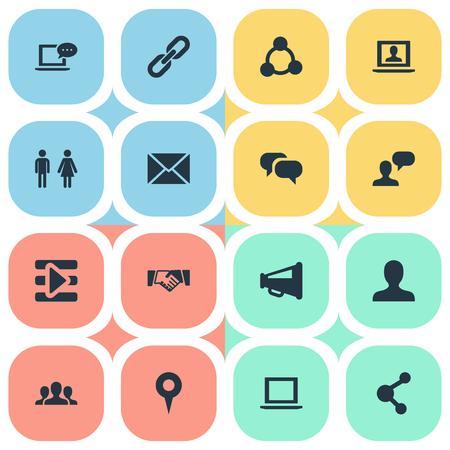 벡터 일러스트 레이 션 간단한 소셜 미디어 아이콘의 집합입니다. 요소 웹, 프로필, 확성기 및 기타 동의어 종, 게시 및 미디어.