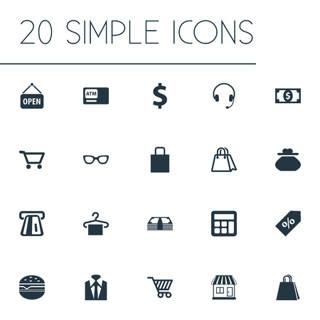 Vector Illustration Set Of Simple Sale Icons. Elements Currency, Cash, New Item And Other Synonyms Bank, Headphones And Time.