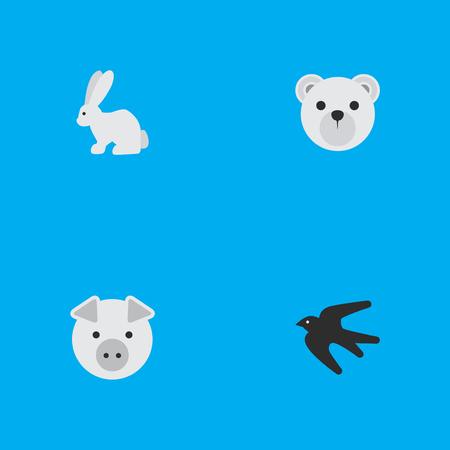 単純な動物アイコンのベクター イラスト セット。要素パンダ、貯金箱、雀類義語豚、パンダやブタ。