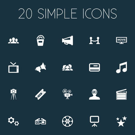 Vector Illustration Set Of Simple Cinema Icons. Elements Snack, Video Camera, Cogwheel And Other Synonyms Canvas, Man And Camera.