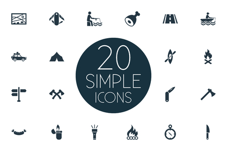 Vector Illustration Set d'icônes de Camp simple. Bûcheron d'éléments, chronomètre, toile et d'autres synonymes pêcheur, cuisse et canif. Banque d'images - 84985849