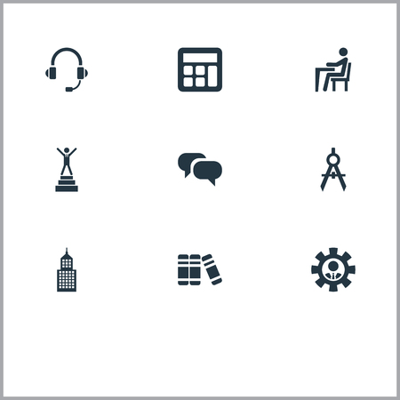 簡単な会議アイコンのベクター イラスト セット。百科事典の要素、ディスカッション、バブル、建築製図などの類義語アカデミーの建築家します。
