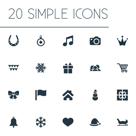 Vector Illustration Set Of Simple Christmas Icons. Elements Snow, Sledge, Heart And Other Synonyms Home, Fortune And Note.