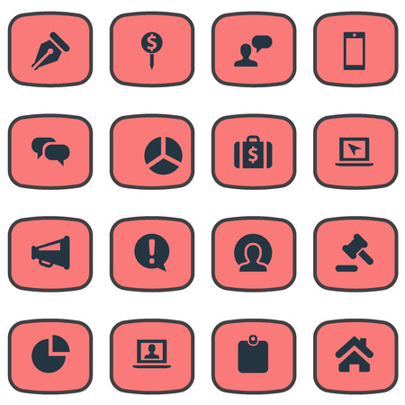 Vector Illustration Set Of Simple Business Icons. Elements Home, Cursor, Authentication And Other Synonyms Pie, Earth And Cursor.