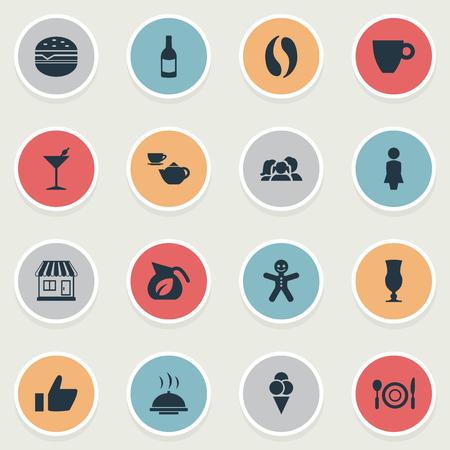 Vector Illustration Set Of Simple Cafe Icons. Elements Cookie, Cafe, Cone And Other Synonyms Stall, Woman And Cone.