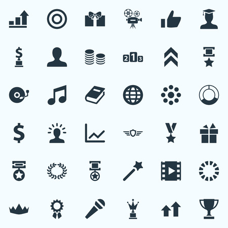 Vector Illustration Set Of Simple Trophy Icons. Elements Cd, Waiting, Play And Other Synonyms Round, Thumb And Cup.