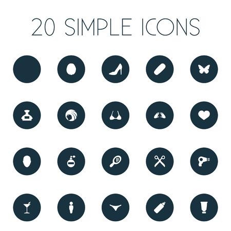 Vector Illustration Set d'icônes de beauté simple. Boîte à lunettes Eléments, coupe de cheveux, hibernation et autre personne de synonymes, dentifrice et Martini. Banque d'images - 84985852