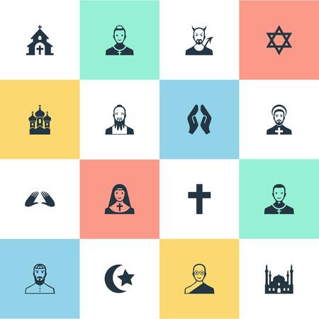 Vectorillustratiereeks Eenvoudige Godsdienstpictogrammen. Elementen aalmoezenier, katholiek, taoïsme en andere synoniemen zuster, aanroeping en orison.