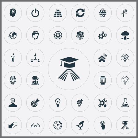 Vector Illustration Set Of Simple Innovation Icons. Elements Optical Instrument, Global, Server And Other Synonyms Invention, Profile And Mind.