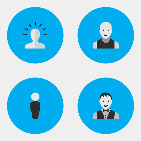 Vector Illustration Set Of Simple Avatar Icons. Elements Male, Contour, Man And Other Synonyms Profile, Human And Boy.