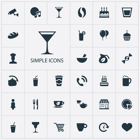 Vector Illustration Set Of Simple Beverage Icons. Elements Porcelain, Female, Mortar And Other Synonyms Porcelain, Lady And Candle. Illusztráció