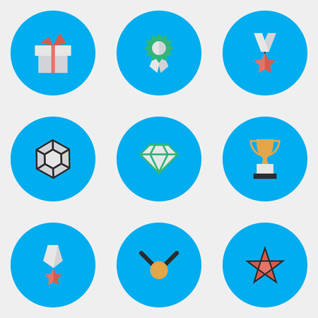 Vector Illustration Set Of Simple Achievement Icons. Elements Goblet, Premium, Present And Other Synonyms Trophy, Expensive And Medal. 向量圖像