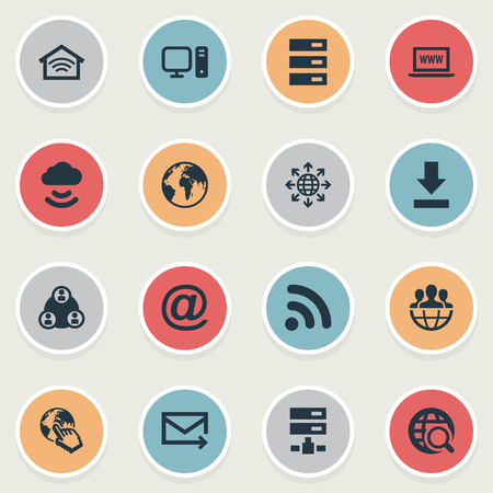 Vector Illustration Set Of Simple Network Icons. Elements Letter, Wireless Connection, Teamwork And Other Synonyms Envelope, Download And Finger. Illustration