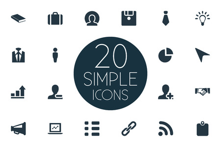 Vector Illustration Set Of Simple Team Icons. Elements Remove Cantact, Worldwide Success, Innovation And Other Synonyms Loudspeaker, Signal And Agreement.