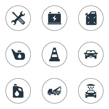 Vector Illustration Set Of Simple Automobile Icons. Elements Transportation, Caution, Instrument And Other Synonyms Wrench, Diesel And Tools.
