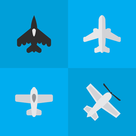 Vector Illustration Set Of Simple Aircraft Icons. Elements Flying Vehicle, Plane, Airliner And Other Synonyms Aviation, Vehicle And Airplane.