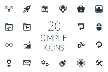 Vector Illustration Set Of Simple SEO Icons. Elements Construction, Optical Zoom, Growth And Other Synonyms Arrow, Wrench And Bookmark.