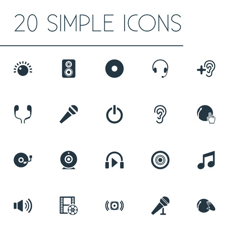 Vector Illustration Set Of Simple Play Icons. Elements Mike, Camera, Headset And Other Synonyms Mike, Earphone And Partymaker.