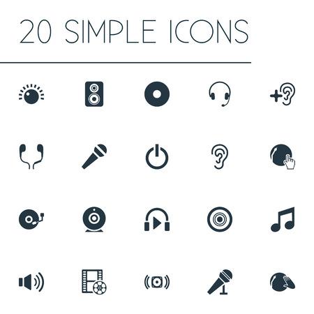 Vector Illustration Set d'icônes de jeu simple. Éléments Mike, appareil photo, casque et autres synonymes Mike, écouteurs et Partymaker. Vecteurs