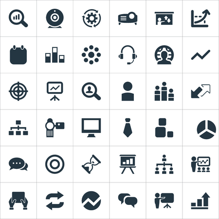 Vector Illustration Set Of Simple Seminar Icons. Elements Goal, Talk, Canvas And Other Synonyms Tablet, Headset And Avatar.
