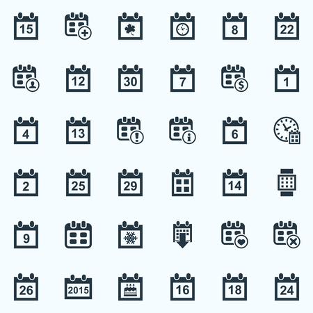Vector Illustration Set Of Simple Calendar Icons. Elements 14 February, Annual, Event And Other Synonyms Number, Valentines And Info.