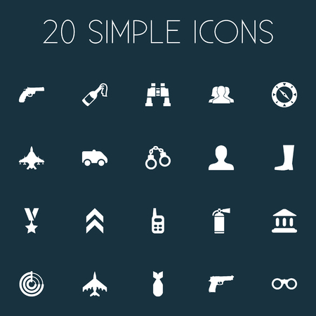 Vector Illustration Set Of Simple Army Icons. Elements Molotov, Rank, Radio Locator And Other Synonyms Order, Radar And Manacles.