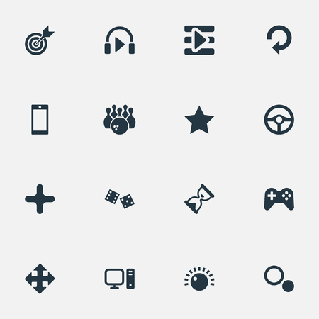 Vector Illustration Set Of Simple Play Icons. Elements Gambling, Update, Phone And Other Synonyms Arrow, Loading And Joystick.