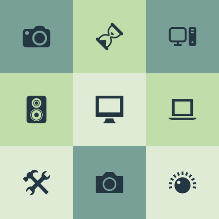 Vector Illustration Set Of Simple Hardware Icons. Elements Monitor, Personal Computer, Camcorder And Other Synonyms Camera, Knob And Photographing. Illustration