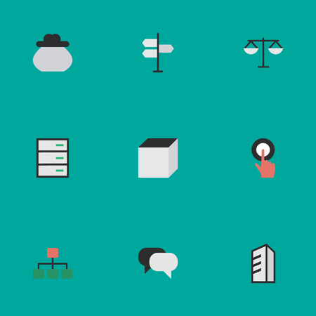 벡터 일러스트 레이 션 간단한 작업 아이콘의 집합입니다. 요소 광장, 구조, 서랍 및 기타 동의어 구조, 손가락 및 아키텍처.