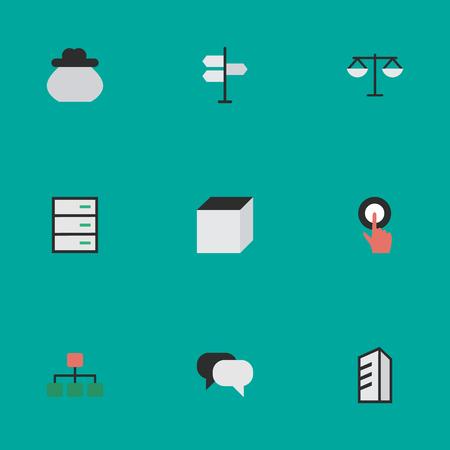 Vectorillustratiereeks Eenvoudige Baanpictogrammen. Elements Square, Structure, Drawer And Other Synoniemen Structure, Finger And Architecture. Stock Illustratie