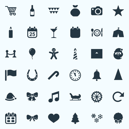 簡単な新年のアイコンのベクトル イラスト セット。要素サーカス テント、ピン、シャレー、他類義語カート キャンディとシャレー。