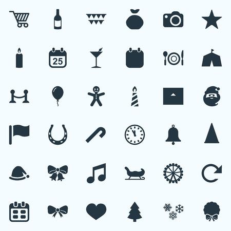 Insieme dell'illustrazione di vettore delle icone semplici di nuovo anno. Elements Circus Tent, Pin, Chalet e altri sinonimi Cart, Candy e Chalet. Archivio Fotografico - 84985862